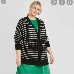 NWT Who What Wear Striped Plus Size Cardigan